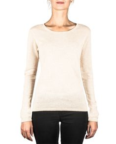 Damen Kaschmir Pullover Rundhals washed ecru front Elegant, Pullover Sweaters, Sweatshirts, Blouse, Long Sleeve, Tops, Sleeves, Fashion, Cashmere Sweaters