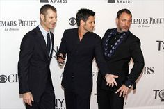Trey Stone, Matt Parker and John Stamos attend the 66th Annual Tony Awards at the Beacon Theater in New York on June 10, 2012