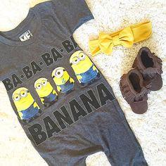 Upcycled t shirt romper Minions Minion / baby romper / t-shirt romper Despicable Me romper Minions tshirt / banana
