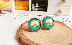 FineArt Collection: Vintage Buddhist Lotus Earring studs/ ear clips/ Ring/ Key chain