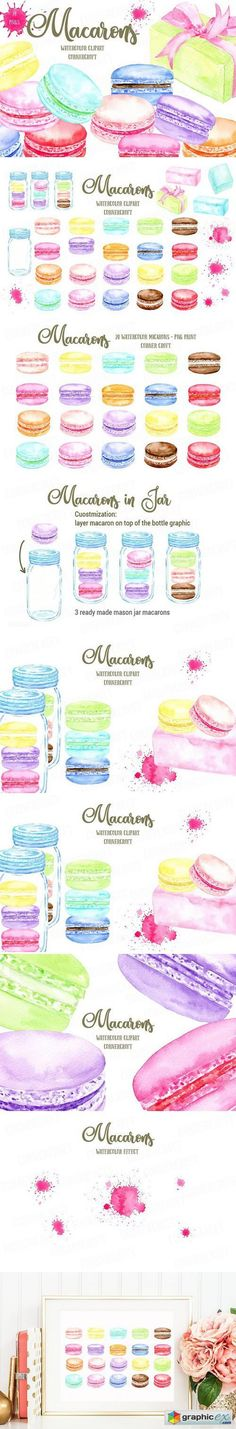 Watercolor Macaron Graphics  stock images