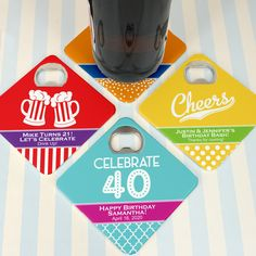 Adult Birthday Personalized Bottle Opener Coasters- Your birthday guest with have double the fun! Ducky Days' Adult Birthday Personalized Bottle Opener Coasters are a bottle opener and a coaster all in one. They are a fun favor that will let your gue Adult Birthday Party, Birthday Party Favors, It's Your Birthday, Happy Birthday, Personalized Bottle Opener, Personalized Coasters, Polka Dot Background, Cork Coasters