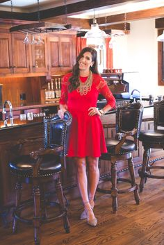 Lace Red Dress   A Southern Drawl
