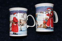 Dunoon Christmas Mug Set 2 Bone China 10 oz Coffee Holiday Santa Claus England #Dunoon