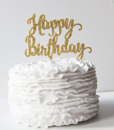 Happy Birthday Cake Topper - Ready to Ship - Gold Glitter - Silver Glitter  - Black Acrylic by PinkPoppyPartyShoppe on Etsy