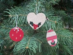 Wooden cutouts with fabric scraps on them.  Cute handmade ornaments.