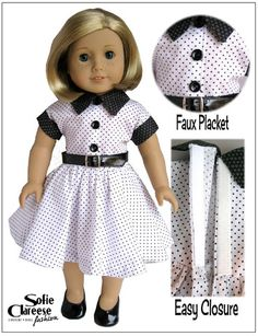 Sofie Clareese Fashion Sofie's Nana Dress Two Doll Clothes Pattern 18 inch American Girl Dolls | Pixie Faire