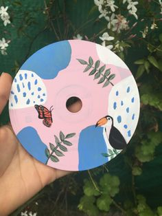 Cd Wall Art, Cd Artwork, Vinyl Record Art, Vinyl Art, Simple Canvas Paintings, Canvas Art, Tumblr Art, Summer Painting, Mandala Art