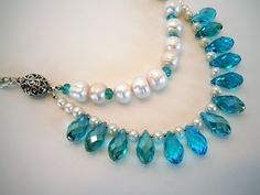 Freshwater Pearl and Turquoise Crystal Multi Strand por DebbieRenee, $48,00