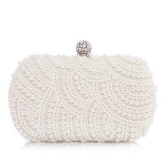 Clutches Wedding Ceremony & Party Satin Pearl Rhinestone Single Strap Clip Closure Gorgeous 6.69