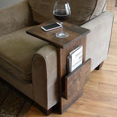 Sofa Chair Arm Rest TV Tray Table Stand with Side Storage Slot for Tablet Magazine by KeoDecor on Etsy https://www.etsy.com/listing/206877361/sofa-chair-arm-rest-tv-tray-table-stand