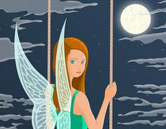 Irish Mythological Faerie on a swing - traditional drawing digital colouring Faeries, New Work, Mythology, Disney Characters, Fictional Characters, Irish, Character Design, Behance, Illustrations