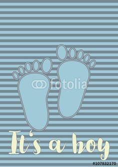 Vektor: Zwei Babyfüsse in Blautönen als Symbol für die Geburt eines Sohnes