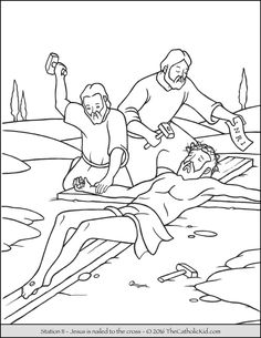 Stations of the Cross Coloring Pages 11 - Jesus is nailed to the cross