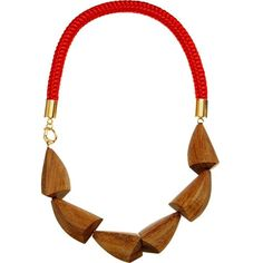 MARNI Wood and nautical cord necklace (2.520 HRK) ❤ liked on Polyvore featuring jewelry, necklaces, hot red, wood pendant necklace, red pendant, wooden necklace, marni necklace and nautical necklace