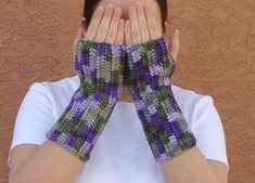 Lilac Fingerless Gloves for Women, Green and Purple Fingerless Gloves, Crochet, Crocheted Fingerless Gloves, Arm Warmers, Fingerless Mittens by Hoooked, $16.00