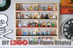 The Crafted Sparrow: DIY Lego Mini-Figure Display. this could be rigged into a shot glass display as well. Legos, Mini Figure Display, Lego Display, Display Case, Lego Man, Lego Guys, Toy Organization, Organizing, Boy Room