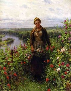 Daniel Ridgway Knight A Maid in Her Garden painting is available for sale; this Daniel Ridgway Knight A Maid in Her Garden art Painting is at a discount of off. Canvas Art Prints, Oil On Canvas, Oil Painting Gallery, Oil Paintings, Vintage Paintings, Painting Art, Vintage Art, Knight Art, Oil Painting Reproductions