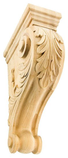 """Corbel with Acanthus Leaf / 11""""H X 3-1/2""""W X 7-1/8""""D - wood onlays, shelf supports, woodcarving, decorative brackets, antique corbels, kitchen cabinets corbels 