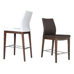 """Pasha Wood Counter / Bar Stool in white.  Seat height 24"""".  $552 each"""