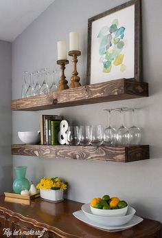 Dining Room Storage With Floating Shelves