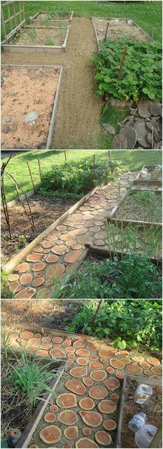 How to Make a Great Wood Logs Garden Pathway Garden Decor