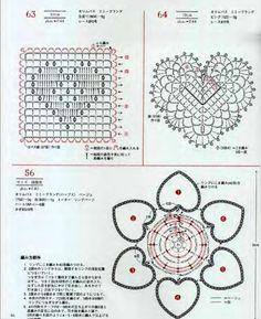 37 Ideas For Crochet Heart Diagram Charts Granny Squares Crochet Diagram, Crochet Chart, Thread Crochet, Crochet Motif, Diy Crochet, Crochet Doilies, Crochet Stitches, Irish Crochet, Grannies Crochet
