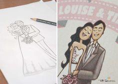 Ilustração inspirada nos noivos para convite de casamento. #convitedecasamento #ilustracao #noivos