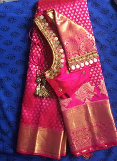 aecca4ae1dce5 Pink pattu saree with kasu work blouse Pattu Saree Blouse Designs