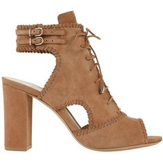 Alexandre Birman Women's Lace-Up Suede Booties (€235) ❤ liked on Polyvore featuring shoes, boots, ankle booties, heels, sandals, cut out booties, beige suede booties, lace-up booties, suede booties and block heel booties