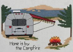 """Airstream - Home is by the Campfire"" - Cross Stitch Pattern or Kit - Camp Cross Stitch"
