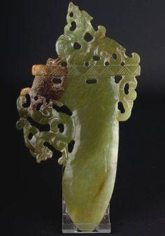 China 20. Jh. Klinge - A Chinese Carved Hardstone 'Jade' Blade - Chinois Cinese