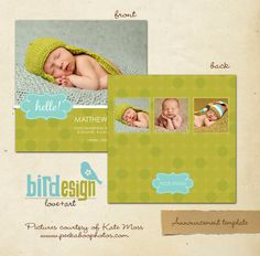 5x5 Birth Announcement Template for photographers  by birdesign, $7.00