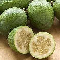 Feijoa - Colombian fruit sometimes referred to as pineapple guava, feijoa is usually blended into a tasty juice. It is also commonly used in skin creams. Exotic Fruit, Tropical Fruits, Fresh Fruits And Vegetables, Organic Vegetables, Fruit Recipes, Wine Recipes, Recipies, Pineapple Guava, New Zealand Food