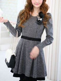 Korean style long sleeve dress with corsage