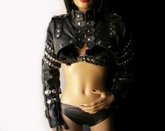 Full Metal. Decorated leather bolero / short by DreamWarriors