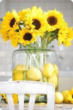 """Vases of Sunshine"" - Sunflowers + Lemons. Just makes me happy."