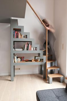 me Ladder For Loft Space Minimalist Wooden Staircase Design For Small Loft Staircase, Attic Stairs, Staircase Design, Small Space Staircase, Mezzanine Loft, Stair Design, Stairs In Small Spaces, Stairs To Attic, Mezzanine Bedroom