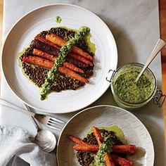 Whole Roasted Carrots with Black Lentils and Green Harissa Recipe Lentil Recipes, Vegetarian Recipes, Cooking Recipes, Healthy Recipes, Vegetarian Protein, Vegan Meals, Vegan Food, Healthy Meals, Yummy Recipes