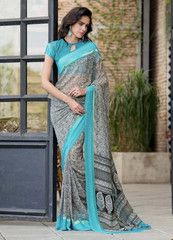 Black & Firozi Color Georgette Casual Party Sarees : Namisha Collection  YF-41685