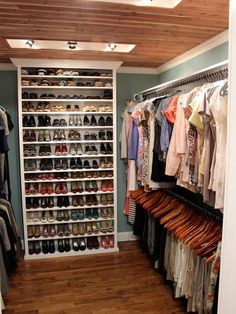 I love the idea of a bookcase inside a small walk in closet. It makes it feel a lot bigger and you can keep your shoes neatly organized.
