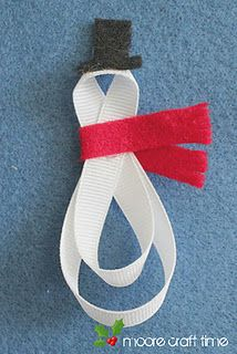 Ribbon Snowman Pin:you can totally make this a hair clip as well!