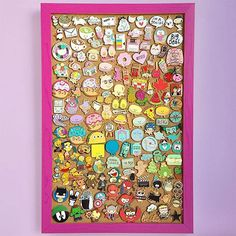 Cute Ways to Display Your Enamel Pins - Super Cute Kawaii! Pin Collection Displays, Kawaii, Disney Pin Display, Large Embroidery Hoop, Disney Trading Pins, Diy Pins, Cool Pins, Pin And Patches, Displaying Collections