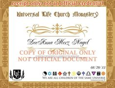 Free Online Ordination - Get Ordained with Universal Life Church Universal Life Church, Spiritual Life, Mom Blogs, Spirituality, Place Card Holders, Faith, Weddings, Wok, Priest