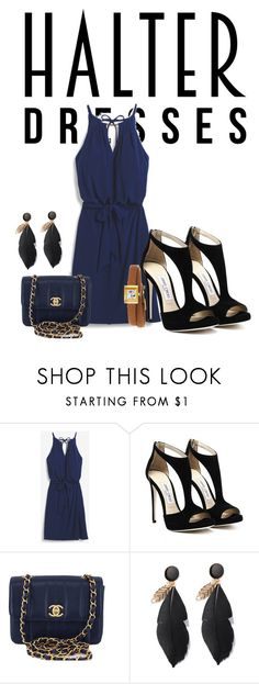 """""""Dark glam blue"""" by bedwinargd on Polyvore featuring White House Black Market, Chanel, Gucci, glam, greatlooks and halterdresses"""