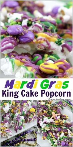 Low Cost Insurance Plan For The Welfare Of Your Loved Ones Mardi Gras King Cake Popcorn Get Cooking With And Enjoy Something Delicious Today. Mardi Gras Desserts, Mardi Gras Food, Mardi Gras Party, Mardi Gras Appetizers, Mardi Gras Drinks, Yummy Appetizers, Mardi Gras Centerpieces, Mardi Gras Decorations, Dessert Aux Fruits