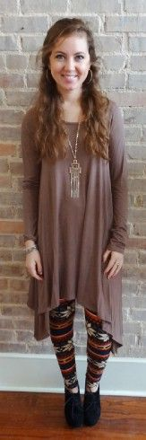 Mocha tunic that's shorter in the middle and longer on the sides, great fashion for winter, spring, and everything in between - Studio 3:19