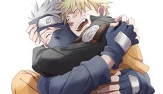 Adorable picture of Naruto and Kakashi. I love seeing students and teachers in animes getting along great. They look like really good friends here.