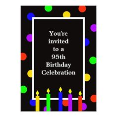 95th Birthday Party Invitation Colorful Candles
