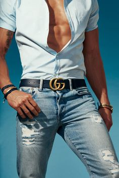 Belt by Gucci. Photo by Dan Forbes - Gucci Jeans - Ideas of Gucci Jeans - Belt by Gucci. Photo by Dan Forbes Mens Gucci Belt, Gucci Jeans, Gucci Shirts, Herren Outfit, Mens Fashion, Fashion Trends, Fashion Styles, Fall Fashion, Sexy Men
